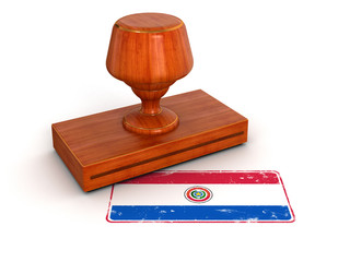 Rubber Stamp Paraguayan flag (clipping path included)