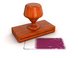 Rubber Stamp Qatar flag (clipping path included)