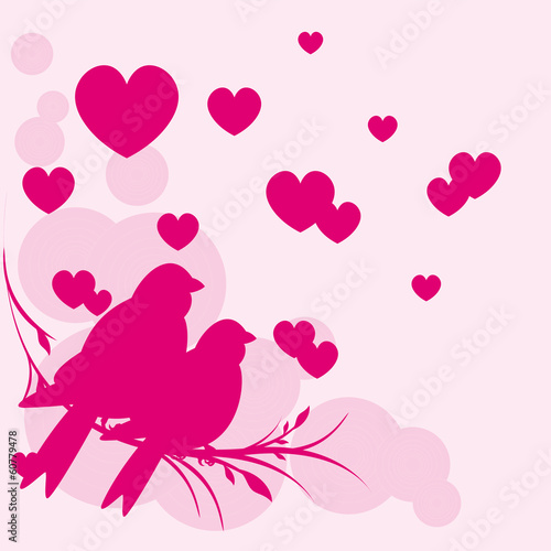 Card of romantic love birds vector eps 10