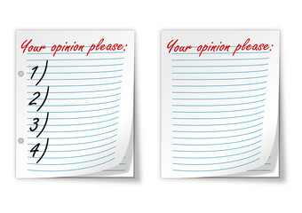 "Lined paper with the words ""your opinion please"" - vector"