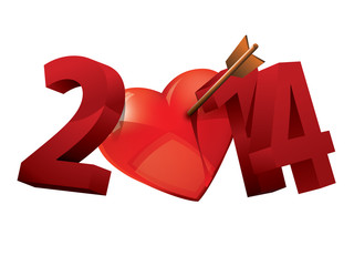 2014. Year of love. Heart typography. 2014 love typography.