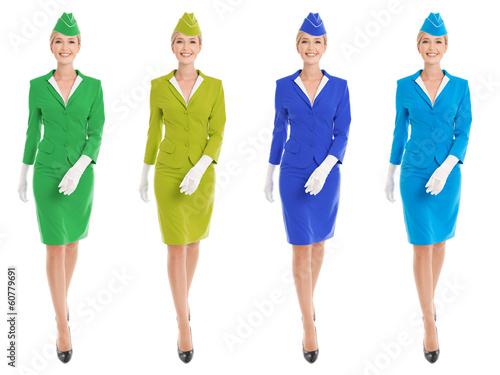 Charming Stewardess Dressed In Uniform With Color Variants. Isol