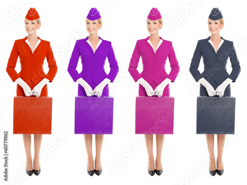 Charming Stewardess Dressed In Uniform And Suitcase With Color V