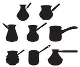 Vector set turk for brewing coffee