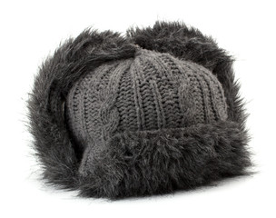 Winter fur cap isolated on white background