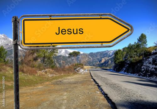 canvas print picture Strassenschild 16 - Jesus