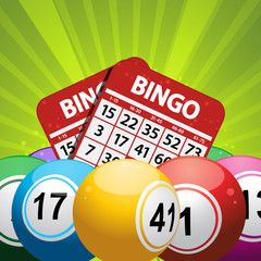 bingo balls and card background on a green starburst