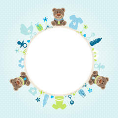 Teddy Baby Symbols Boy Frame Blue