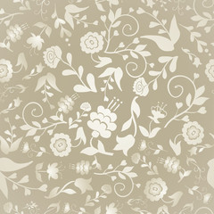 Vintage seamless pattern with flowers on a beige background