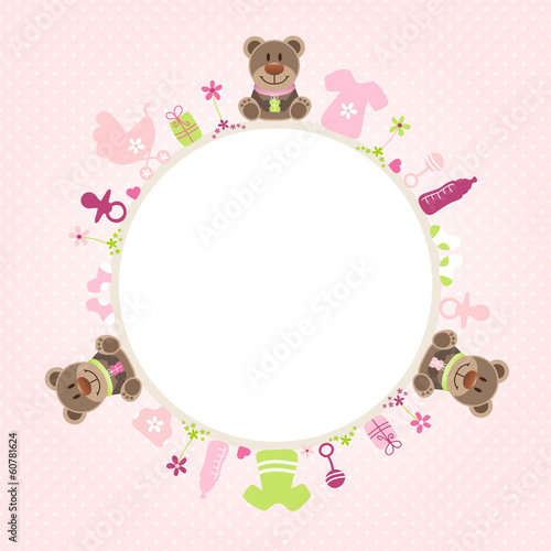 Teddy Baby Symbols Girl Frame Rose