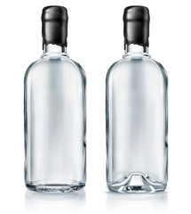 Vodka bottle with black waxing isolated