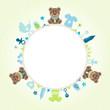 Teddy Baby Symbols Boy Frame Green