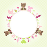 Teddy Baby Symbols Girl Frame Green
