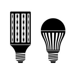 vector LED energy saving lamp bulb symbols