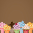 Vector Illustration of Colorful Cupcakes