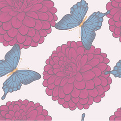 Seamless background with butterflies and flowers dahlias