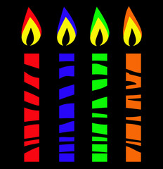 Stylised candles partially hidden behind barrier, or striped