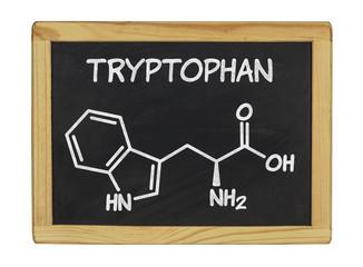 chemische Strukturformel von Tryptophan auf einer Schiefertafel