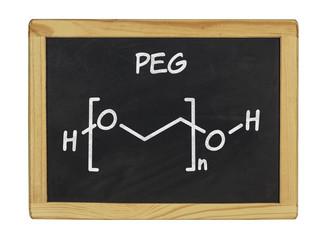 chemische Strukturformel von PEG auf einer Schiefertafel
