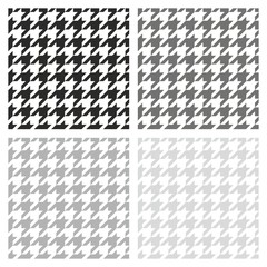 Houndstooth vector grey, black and white background set