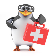 Academic penguin gives first aid