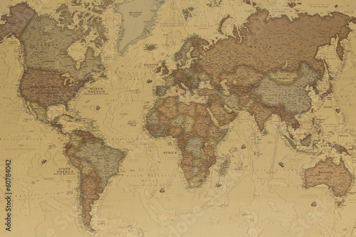 Spoed canvasdoek 2cm dik Retro Ancient world map
