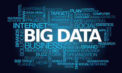 Big data marketing word tag cloud illustration