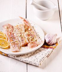 Fillet of pollack. White fish in spices