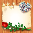 Vintage background with rose and heart