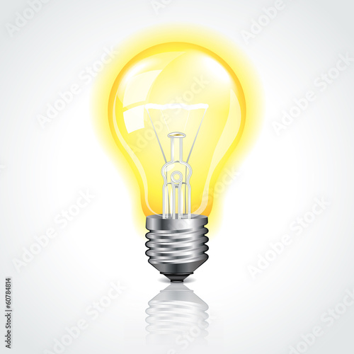Glowing light bulb vector illustration