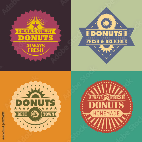 Set of retro donuts labels.