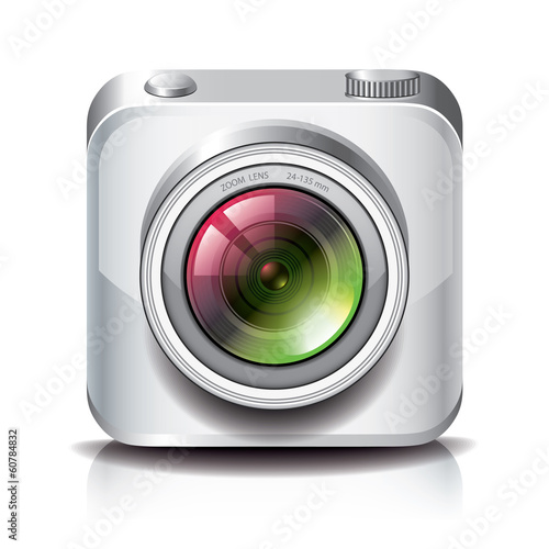 White photo camera icon for apps