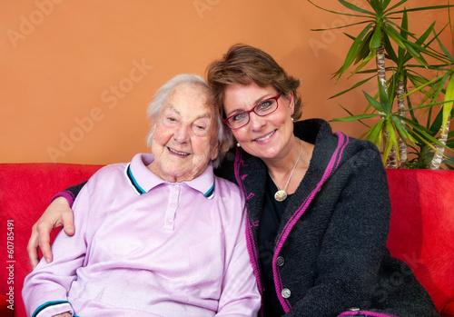 canvas print picture Großmutter mit Enkelin