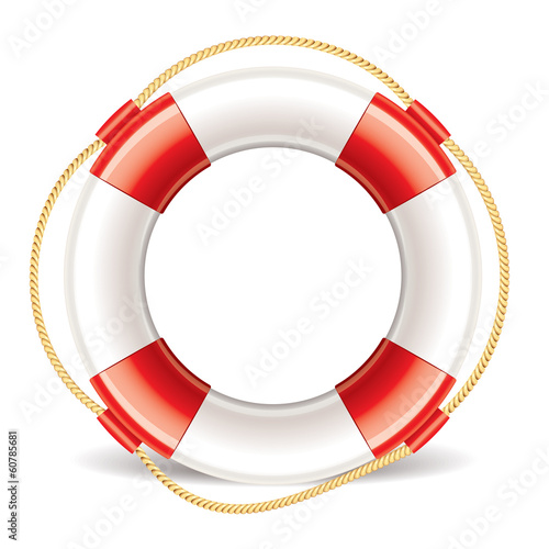 Lifebuoy isolated on white vector