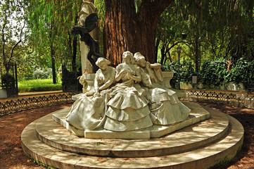 Maria Luisa Park in Seville, Glorieta de Becquer, Spain
