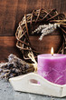 Fresh lavender flowers and scented candle