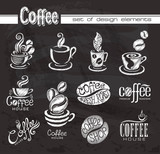 Fototapety Coffee. Design elements on the chalkboard.