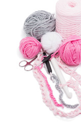 yarns and crochet hooks
