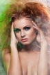 Girl with fluffy red hair