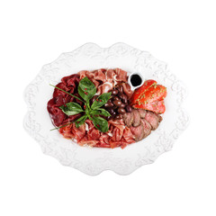 cold cuts, on a plate (white background)