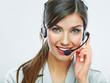 Leinwanddruck Bild - Customer support operator close up portrait.  call center smili