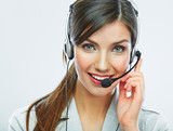 Fototapety Customer support operator close up portrait.  call center smili