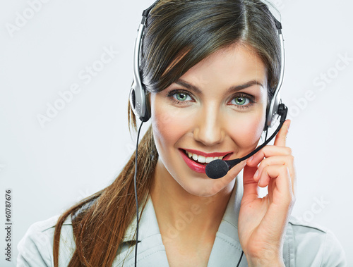 Leinwanddruck Bild Customer support operator close up portrait.  call center smili