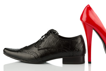 red high heels and men's shoe