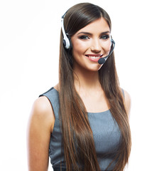 Portrait of woman customer service worker, call center smiling o