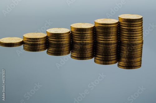 stacked coins, upward trend