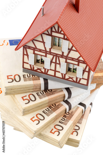 half-timbered house on euro banknotes