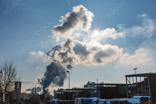 industry chimney with exhaust gases