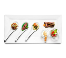 assorted cold appetizers (white background)