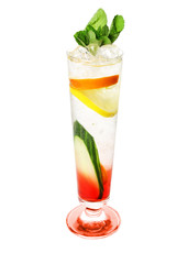 cold, alcoholic cocktails (white background)